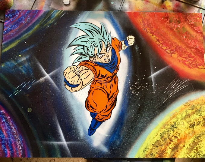Featured listing image: Super Saiyan God Goku Dragonball Super Galaxy Spray Painting