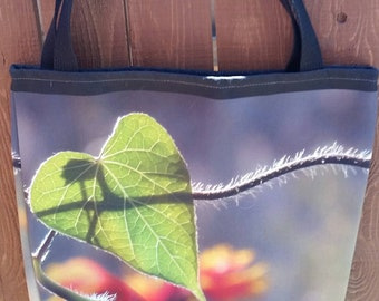 Heart Leaf Color Photograph on 16 x 16 Tote Bag