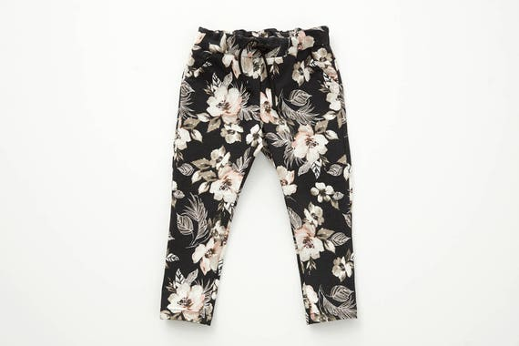 PAS D'ÂNE - dress pant with prints, skinny fit for kids: boys and girls - black with flowers print