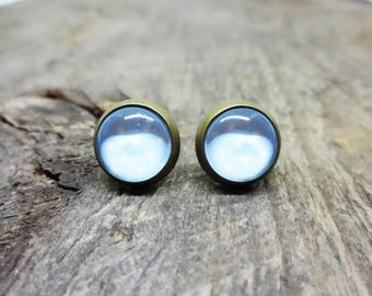 Blue earrings, blue jewelry, Stud Earrings, Stud Earrings, 12mm stud, brass