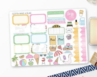 Planner Stickers Summer Panda Half Boxes and Decorative for Erin Condren, Happy Planner, Filofax, Scrapbooking