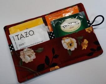 Tea Wallet - Tea Pouch - Tea Travel Bag - Tea Purse - Purse Accessory - Padded