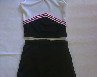 Black & White Cheerleader Uniform Football Game Halloween Costume Kids Adults