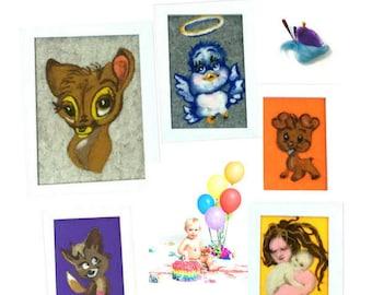 Nursery Framed Wool Paintings, Original Keepsakes, Original Nursery Art, Original Tapestries, Needle Felted Items, Baby Wall Art