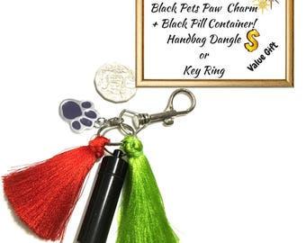 Red and Green Zipper Pull,Bag Dangle, Animal Paw Charm,Versatile Gift Key Ring, Animal Lovers Gift, Anytime Gift,Unique Gift