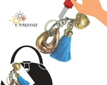 Turquoise Tassel Key Ring, Copper Bag Charm, Gold Heart Dangle, Variety Key Ring, On Trend Gift, Stylish Gift, Teacher Xmas Gift,