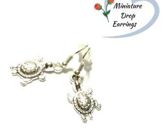 Turtle Earrings, Miniature Silver Drop  Earrings, Cute Tiny Turtle Earrings, Appreciation gift, Every Day Earrings,Stylish On Trend Earrings