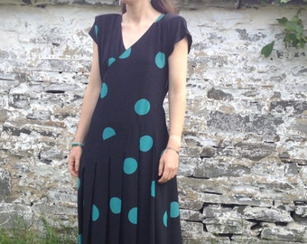 Black & Green Polka Dot Vintage Dress