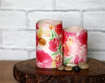 Decorative Pillar Candle Gift Set, Pink Floral LED Light, Gift For Nana, Birthday Gift For Sister, Whimsical Home Decor