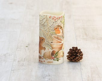 Red Robin and Squirrel Print Candle, Winter Home Decor, LED Flameless Candle with Woodland Animals Print, Squirrel Lovers Gift
