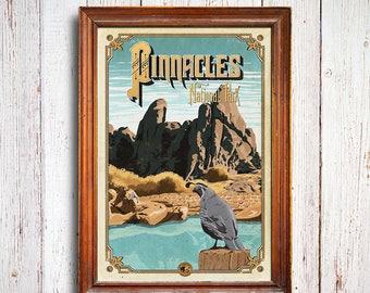 Pinnacles poster, Pinnacles National Park , Pinnacles California, Pinnacles art print, Pinnacles bird, Pinnacles gift