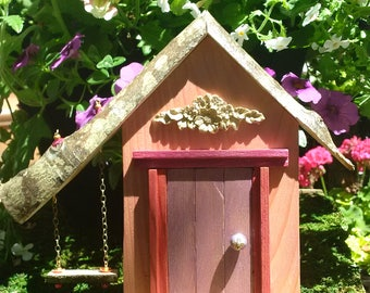Mauve Fairy Door with Decorative Rosette and Swing