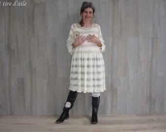 Ecru and openwork stitch, boho, gypsy dress.
