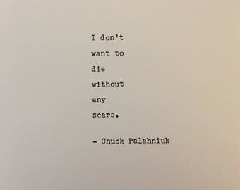 Chuck Palahniuk quote hand typed on antique typewriter scrapbooking