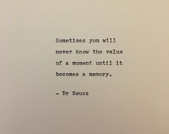 Dr Seuss love quote hand typed on antique typewriter gift girlfriend boyfriend husband wife wedding birthday valentines scrapbooking