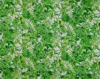 "Dressmaking Fabric, Green Floral Print, White Fabric, Decor Sewing Fabric, 45"" Inch Cotton Fabric By The Yard ZBC8554A"