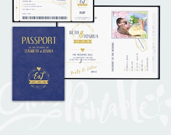 Passport Wedding Invitation Set - Boarding Pass Wedding RSVP - Plane Ticket Wedding - PSD file - Instant Download
