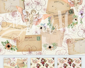 Vintage Angels Romantic Mails Watercolor Flowers / Printable wrapping paper for Scrapbooking