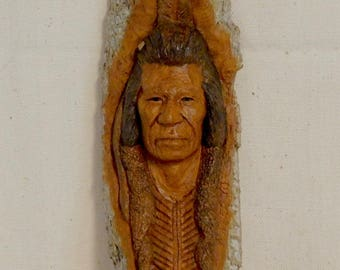 Wonderful wood carving of American Indian face