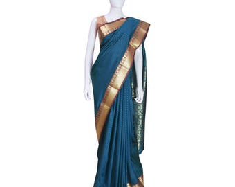 KarigarStreet  Art Silk Emboss Sari with rich Pallu with Blouse(Unstitched)-BLUE