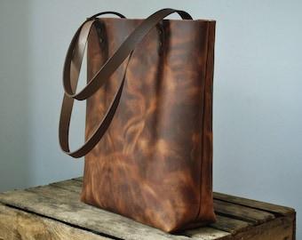 Leather tote bag, leather tote, leather bag, leather handbag, brown leather tote, distressed leather purse