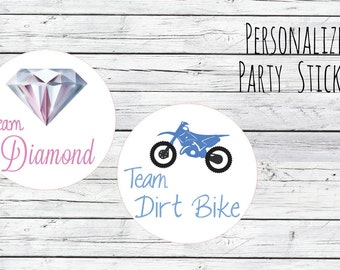 DIY Diamond or Dirt Bike Gender Reveal Party Stickers Team Boy, Team Girl, Baby Shower Voting, Favor Tags, Labels, You Choose Size