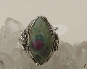 Ruby in Fuchsite Party Ring Size 7