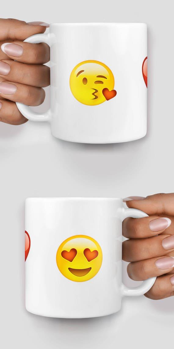 Valentines emoji with winky kiss face, heart and heart eyes mug - Christmas mug - Funny mug - Rude mug - Mug cup 4P009