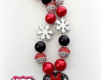 Christmas Minnie Necklace - Holiday Minnie Snowflake Chunky Bubblegum Bead Necklace, Party Favor, Birthday Gift Chunky Beaded Necklace
