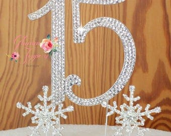 Number 15 cake topper Quinceanera in Rhinestones with two crystal snow flakes cake decoration