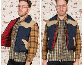 70s Lumberjack / Retro Puffer Vest / Size M