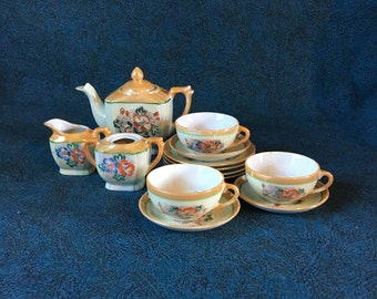 Vintage Miniature Lustreware Tea Set from Japan