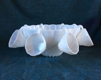 Vintage Swirl Milk Glass Punch Bowl and 8 Cups, Hazel Atlas Alpine White