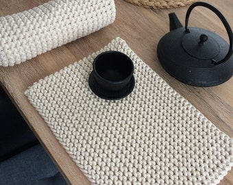 Great Handmade Placemats, Cotton Placemats, Knitted Placemats, Table Placemats,  Modern Placemats, Grey