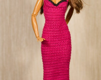 Barbie crochet Barbie clothes Handmade pink dress and black hat