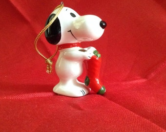 Snoopy Holding Stocking Vintage Christmas Ornament
