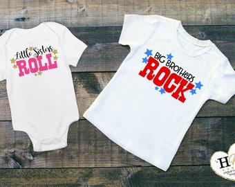 Big Brother Little Sister- Matching Sibling Shirts - Sibling Outfits - Pregnancy Announcement - New Baby Gift - Sibling Outfits