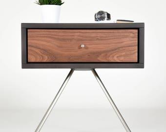 Nightstand / Mid Century Nightstands with drawer in Walnut /  Modern Side table handmade / Bedroom furniture scandinavian / Modern console