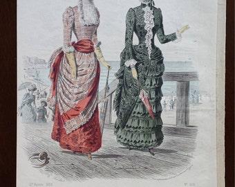 Antique 1883 Revue De La Mode, Gazette de la Famille Print No. 605,  French Hand-Colored Lithographic Print, French Fashion