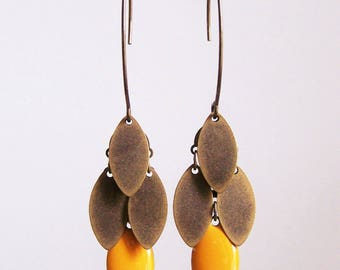 Navette cluster earrings mustard yellow and bronze
