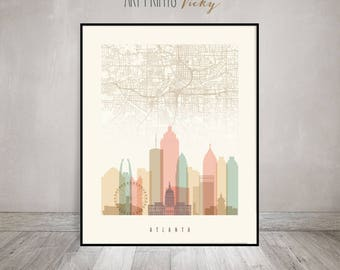 Atlanta map, Atlanta skyline art, Atlanta poster, Atlanta art print, Atlanta wall art, Travel decor, Home decor, ArtPrintsVicky