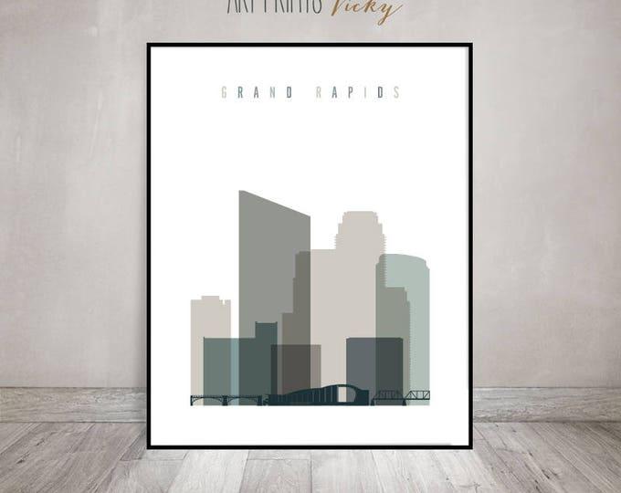 Grand Rapids skyline, print, Travel Poster, Wall art, Travel gift, Michigan cityscape, Home Decor, ArtPrintsVicky
