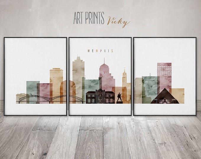 Memphis print, Memphis set of 3 pieces posters, watercolor wall art, travel, large wall art, skyline,home decor, ArtPrintsVicky
