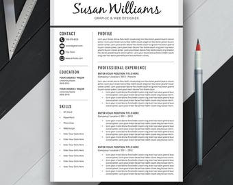 professional resume template cover letter cv template us letter a4 creative