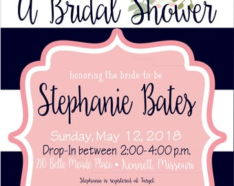 Navy White and Pink Floral Bridal/Baby Shower Invitation