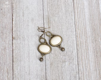 Cream-Colored Oval Bead Earrings | Gold Edged Earrings | Gold Bead Earrings | Mixed Media