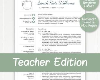 Teacher Resume | Etsy  Elementary School Teacher Resume