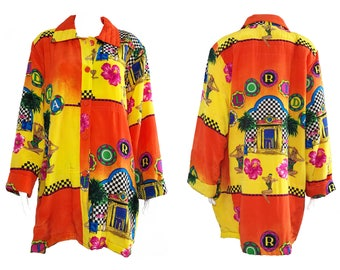 Vintage 1980s Hawaiian Print Silk Coat Dead Stock Oversized Cocoon  Tropical Vegas Graphic Jacket With Original Tags