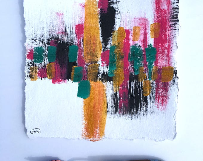 """Glam"" Midcentury Modern inspired acrylic painting on deckled edge paper"