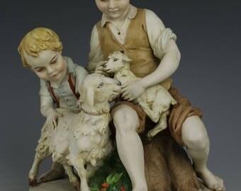 """Capodimonte Benacchio Figurine """"Two Boys with Sheeps"""""""